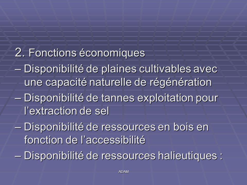 ADAM 2. Fonctions économiques – Disponibilité de plaines cultivables avec une capacité naturelle de régénération – Disponibilité de tannes exploitatio