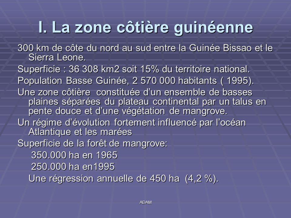 ADAM I. La zone côtière guinéenne 300 km de côte du nord au sud entre la Guinée Bissao et le Sierra Leone. Superficie : 36 308 km2 soit 15% du territo