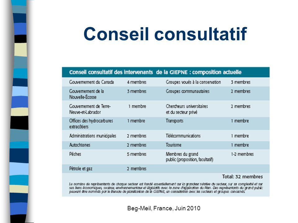 Beg-Meil, France, Juin 2010 Conseil consultatif