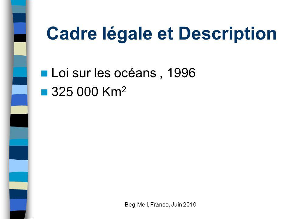 Beg-Meil, France, Juin 2010 Cadre légale et Description Loi sur les océans, 1996 325 000 Km 2