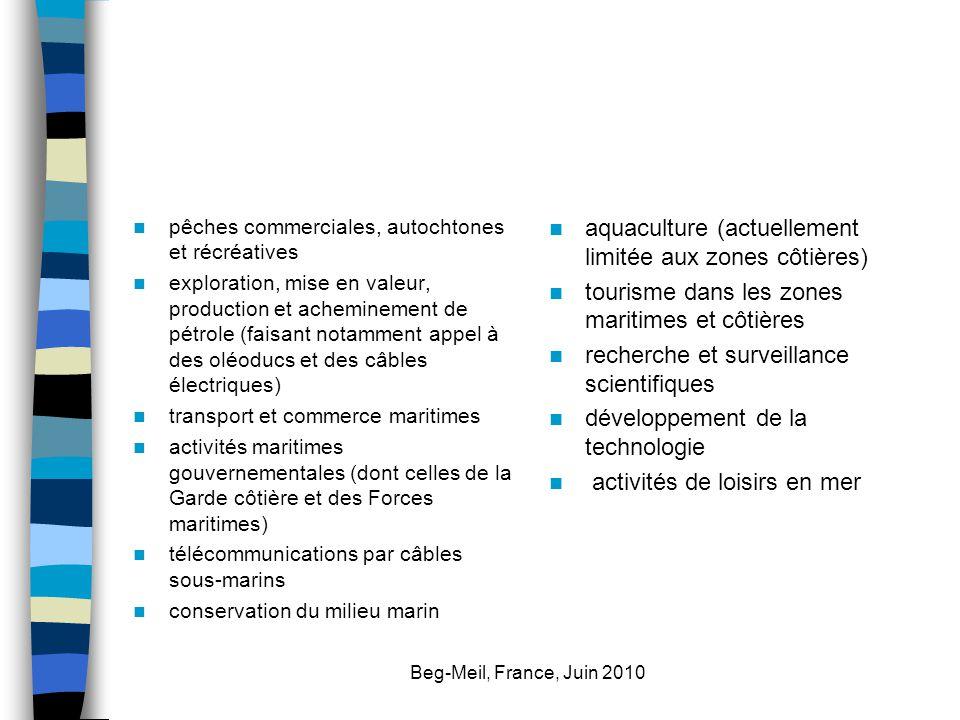 Beg-Meil, France, Juin 2010 pêches commerciales, autochtones et récréatives exploration, mise en valeur, production et acheminement de pétrole (faisan