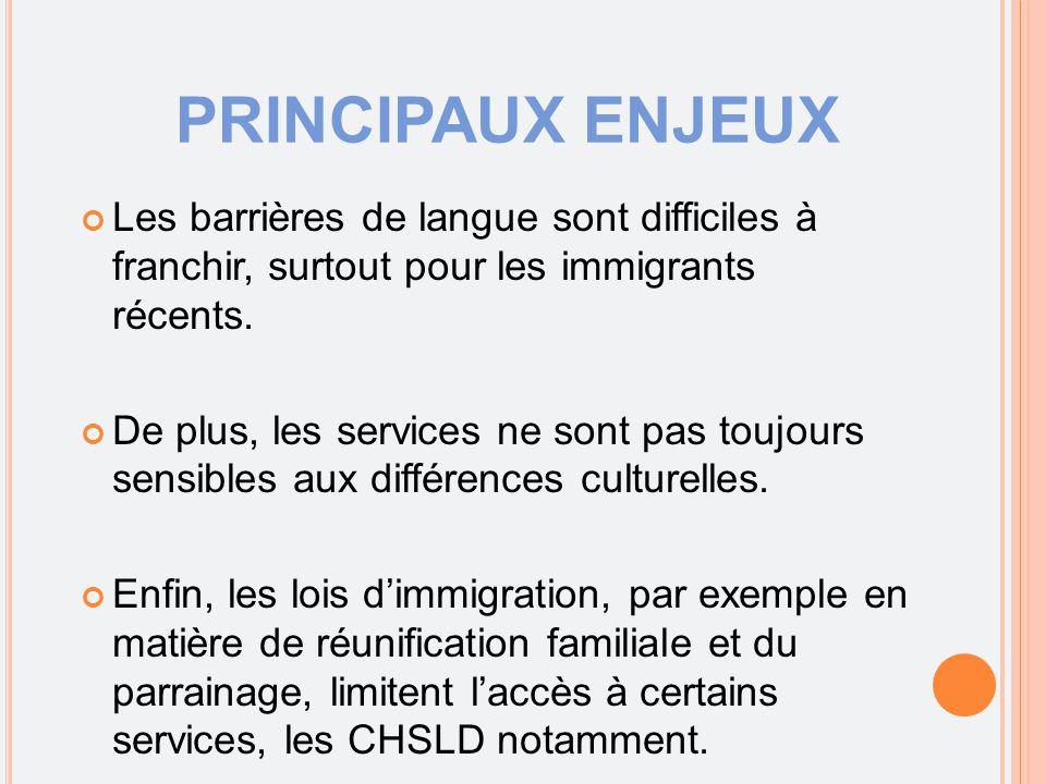 PRINCIPAUX ENJEUX Les barrières de langue sont difficiles à franchir, surtout pour les immigrants récents. De plus, les services ne sont pas toujours