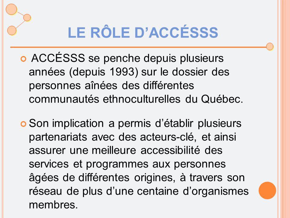 LE RÔLE D'ACCÉSSS ACCÉSSS se penche depuis plusieurs années (depuis 1993) sur le dossier des personnes aînées des différentes communautés ethnoculturelles du Québec.