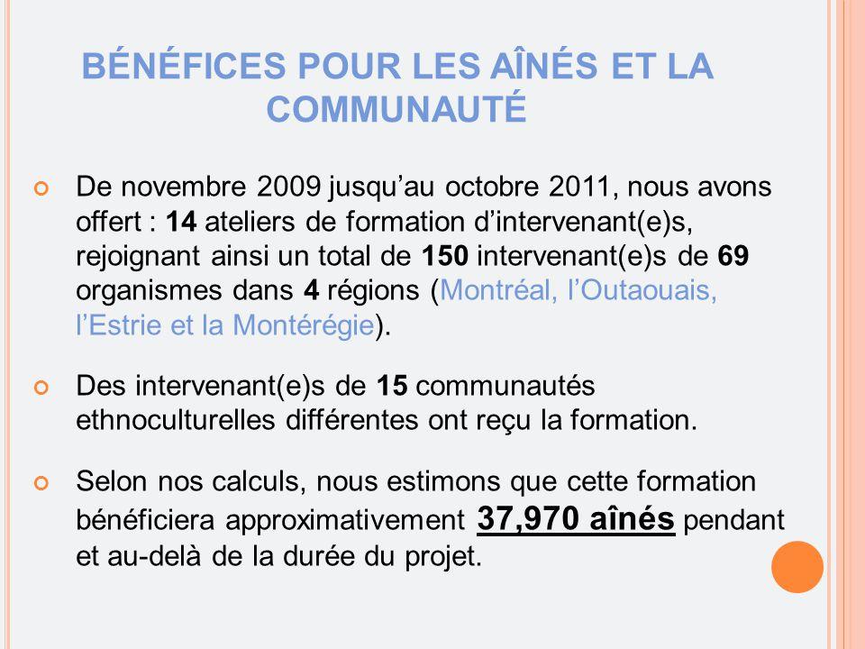 BÉNÉFICES POUR LES AÎNÉS ET LA COMMUNAUTÉ De novembre 2009 jusqu'au octobre 2011, nous avons offert : 14 ateliers de formation d'intervenant(e)s, rejoignant ainsi un total de 150 intervenant(e)s de 69 organismes dans 4 régions (Montréal, l'Outaouais, l'Estrie et la Montérégie).