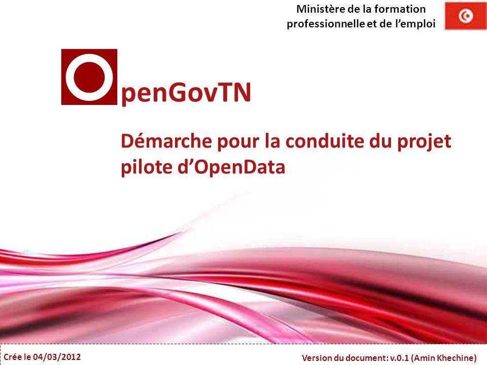 Free Powerpoint Templates Crée le 04/03/2012 Version du document: v.0.1 (Amin Khechine) penGovTN Démarche pour la conduite du projet pilote d'OpenData