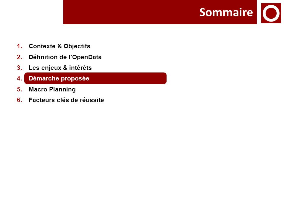 Sommaire 1.Contexte & Objectifs 2.Définition de l'OpenData 3.Les enjeux & intérêts 4.Démarche proposée 5.Macro Planning 6.Facteurs clés de réussite