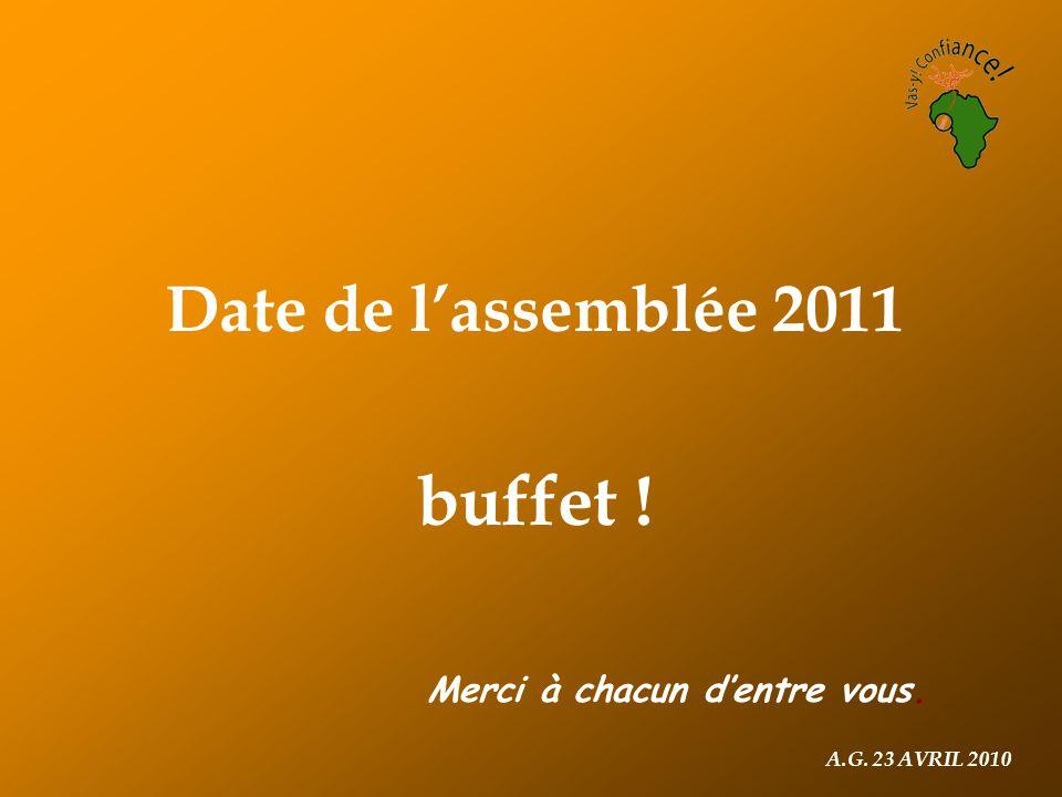 A.G. 23 AVRIL 2010 Date de l'assemblée 2011 buffet ! Merci à chacun d'entre vous.