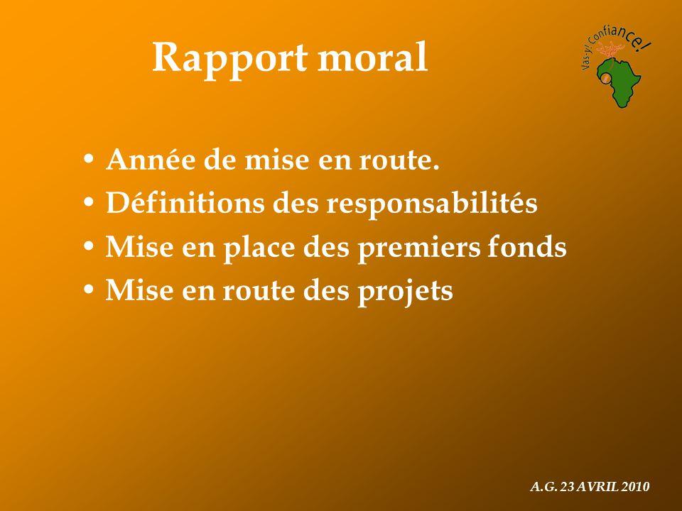 A.G. 23 AVRIL 2010 Rapport moral Année de mise en route.