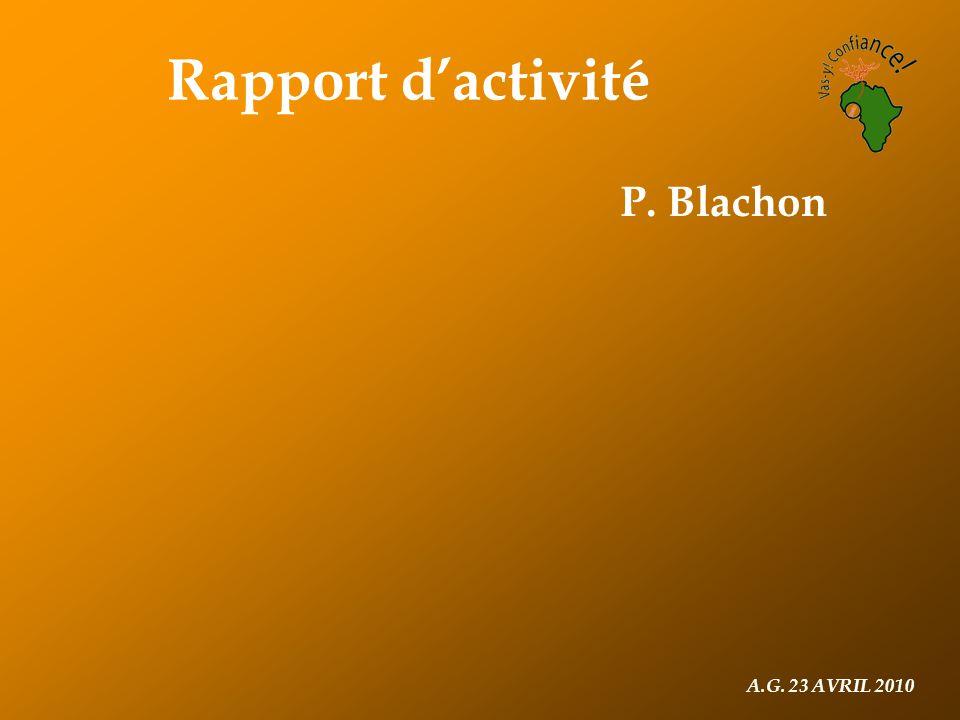 A.G. 23 AVRIL 2010 Rapport d'activité P. Blachon