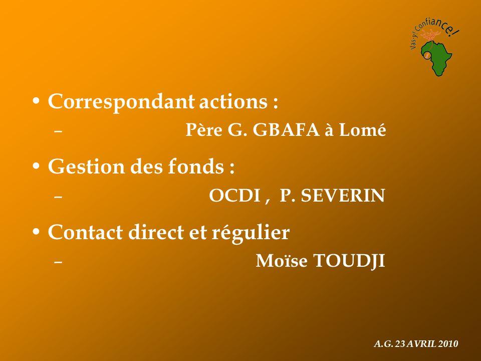 Correspondant actions : – Père G. GBAFA à Lomé Gestion des fonds : – OCDI, P.