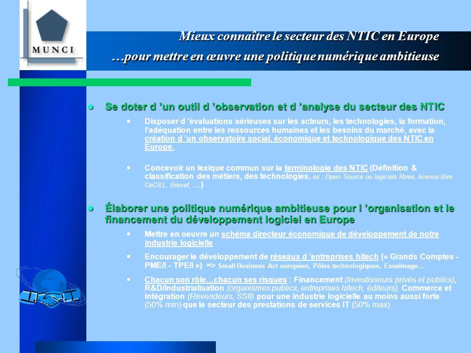 Mieux connaître le secteur des NTIC en Europe …pour mettre en œuvre une politique numérique ambitieuse Se doter d 'un outil d 'observation et d 'analyse du secteur des NTIC Se doter d 'un outil d 'observation et d 'analyse du secteur des NTIC  Disposer d 'évaluations sérieuses sur les acteurs, les technologies, la formation, l'adéquation entre les ressources humaines et les besoins du marché, avec la création d 'un observatoire social, économique et technologique des NTIC en Europe.