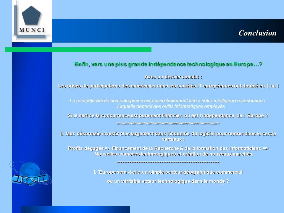 Conclusion Enfin, vers une plus grande indépendance technologique en Europe….