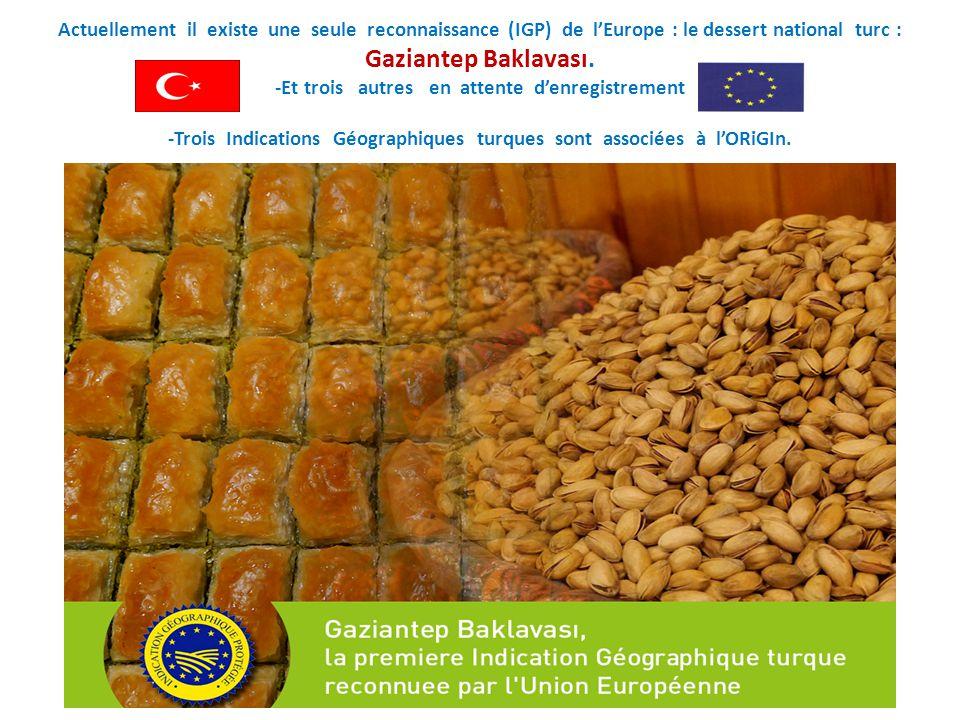 Actuellement il existe une seule reconnaissance (IGP) de l'Europe : le dessert national turc : Gaziantep Baklavası. -Et trois autres en attente d'enre