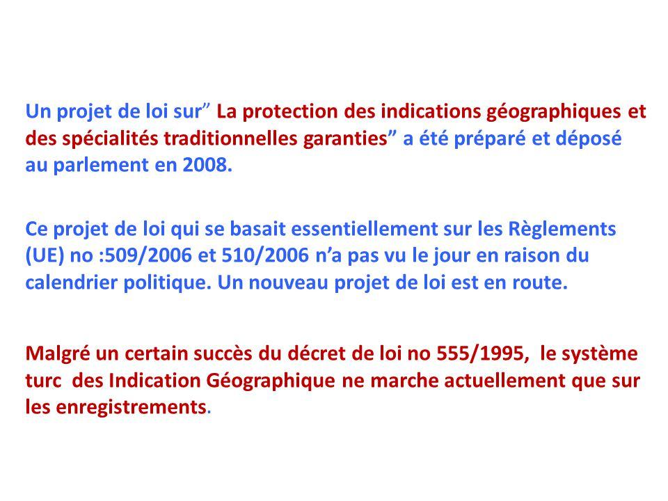 """Un projet de loi sur"""" La protection des indications géographiques et des spécialités traditionnelles garanties"""" a été préparé et déposé au parlement e"""