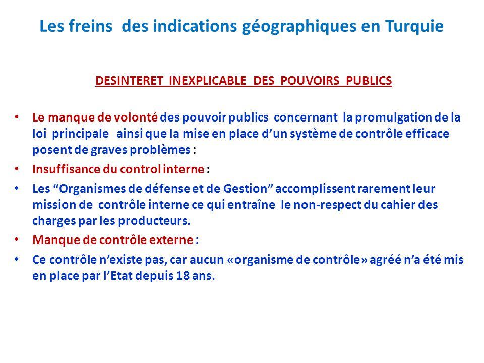 Les freins des indications géographiques en Turquie DESINTERET INEXPLICABLE DES POUVOIRS PUBLICS Le manque de volonté des pouvoir publics concernant l