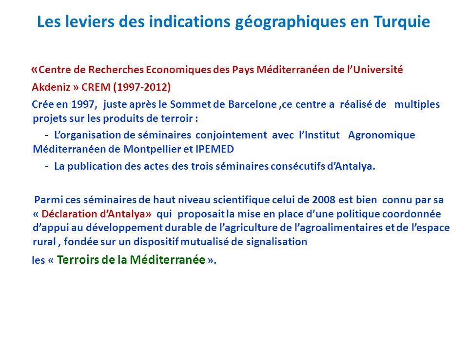 Les leviers des indications géographiques en Turquie « Centre de Recherches Economiques des Pays Méditerranéen de l'Université Akdeniz » CREM (1997-20