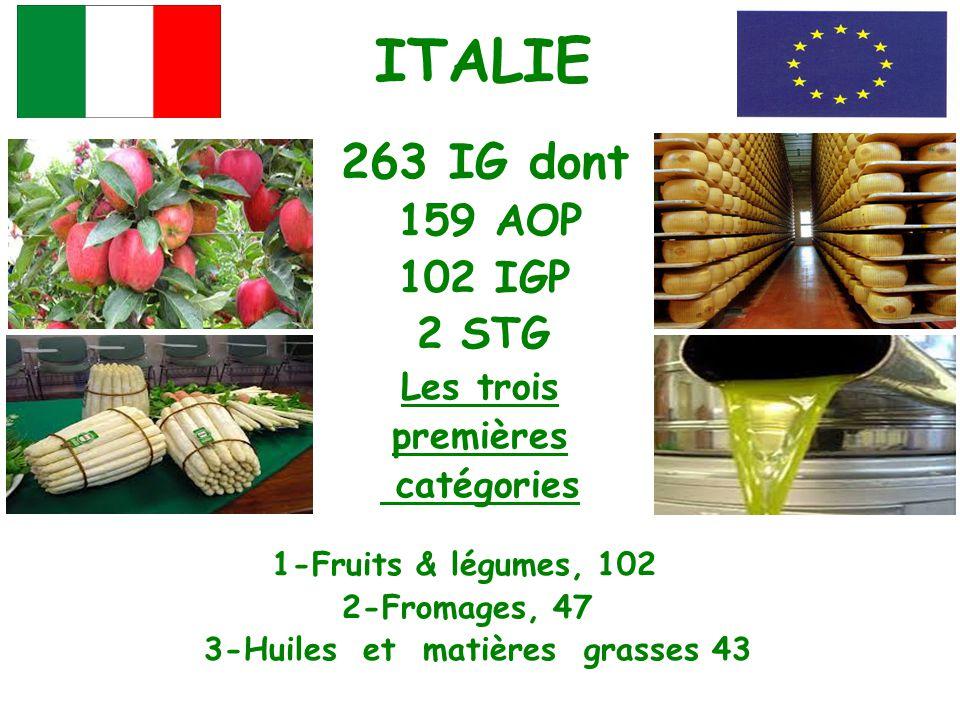 ITALIE 263 IG dont 159 AOP 102 IGP 2 STG Les trois premières catégories 1-Fruits & légumes, 102 2-Fromages, 47 3-Huiles et matières grasses 43