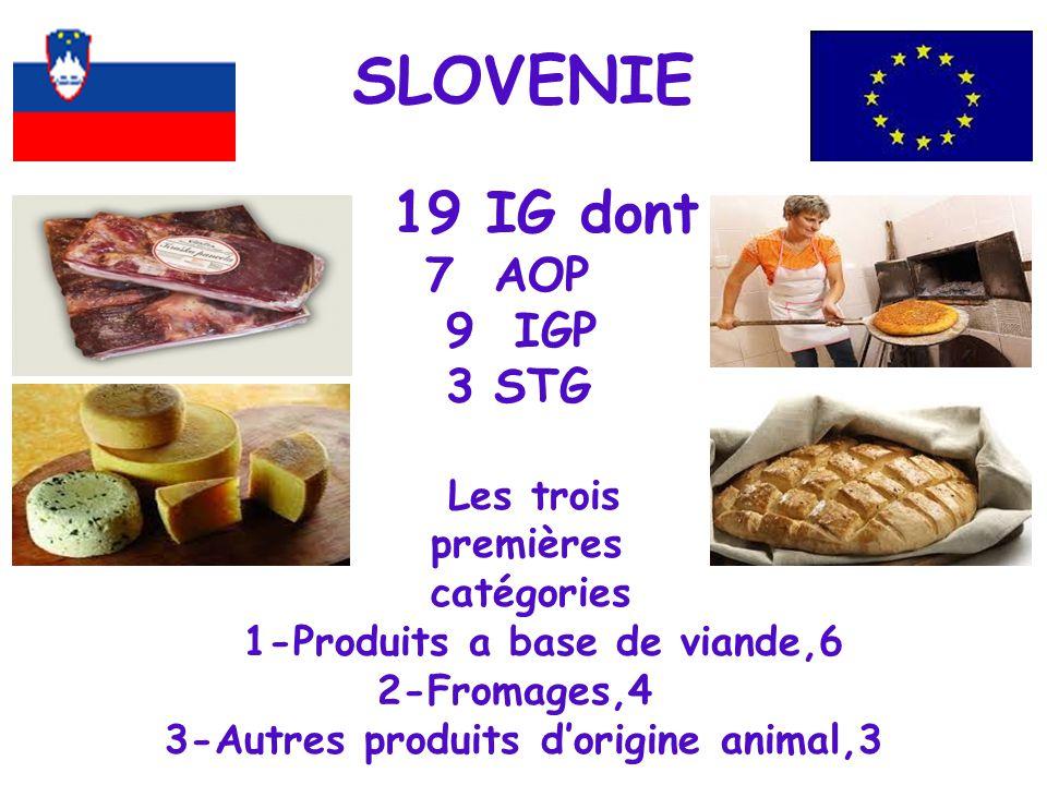 SLOVENIE 19 IG dont 7 AOP 9 IGP 3 STG Les trois premières catégories 1-Produits a base de viande,6 2-Fromages,4 3-Autres produits d'origine animal,3