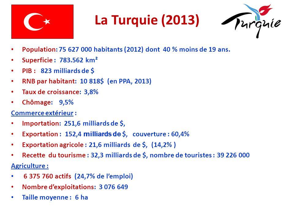 La Turquie (2013) Population: 75 627 000 habitants (2012) dont 40 % moins de 19 ans. Superficie : 783.562 km² PIB : 823 milliards de $ RNB par habitan