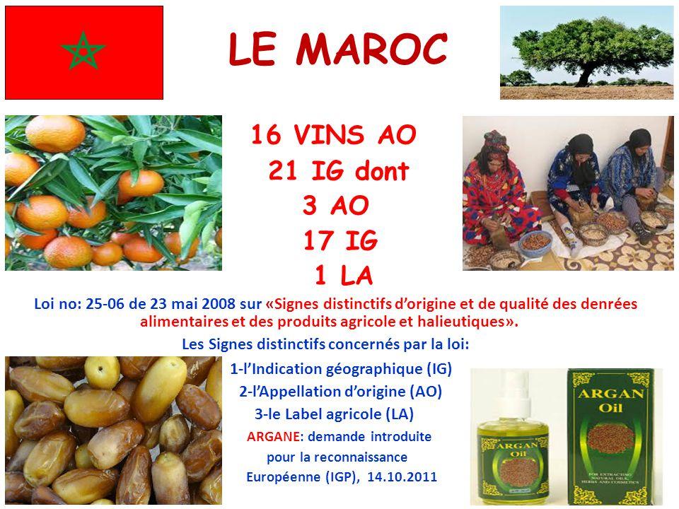 LE MAROC 16 VINS AO 21 IG dont 3 AO 17 IG 1 LA Loi no: 25-06 de 23 mai 2008 sur «Signes distinctifs d'origine et de qualité des denrées alimentaires e