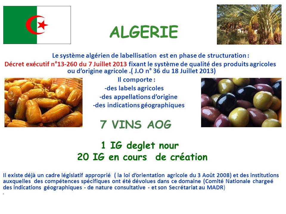 ALGERIE Le système algérien de labellisation est en phase de structuration : Décret exécutif n°13-260 du 7 Juillet 2013 fixant le système de qualité d