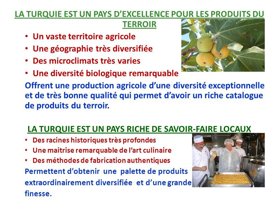 LA TURQUIE EST UN PAYS D'EXCELLENCE POUR LES PRODUITS DU TERROIR Un vaste territoire agricole Une géographie très diversifiée Des microclimats très va
