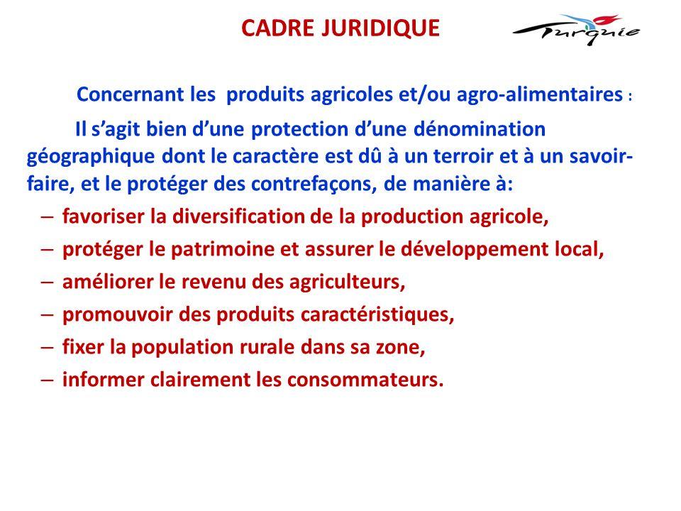Concernant les produits agricoles et/ou agro-alimentaires : Il s'agit bien d'une protection d'une dénomination géographique dont le caractère est dû à
