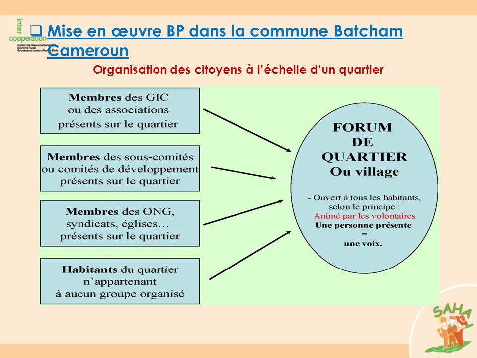  Mise en œuvre BP dans la commune Batcham Cameroun Organisation des citoyens à l'échelle d'un quartier