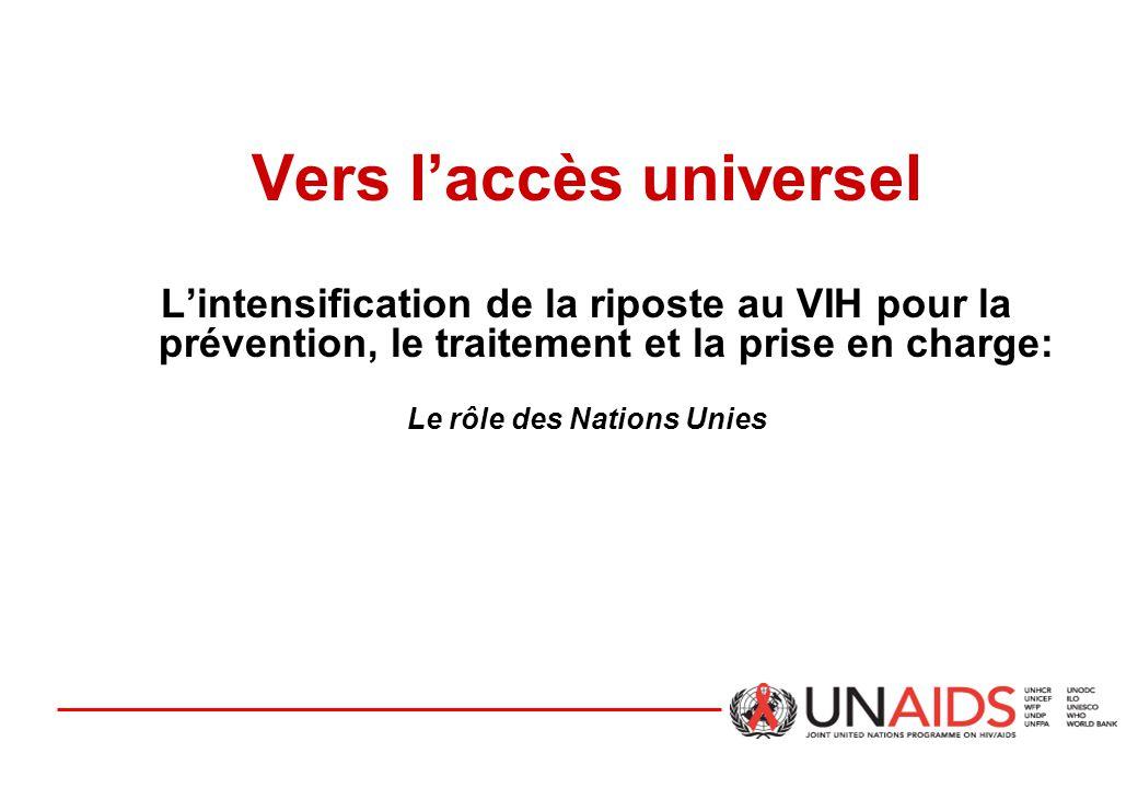 Vers l'accès universel L'intensification de la riposte au VIH pour la prévention, le traitement et la prise en charge: Le rôle des Nations Unies