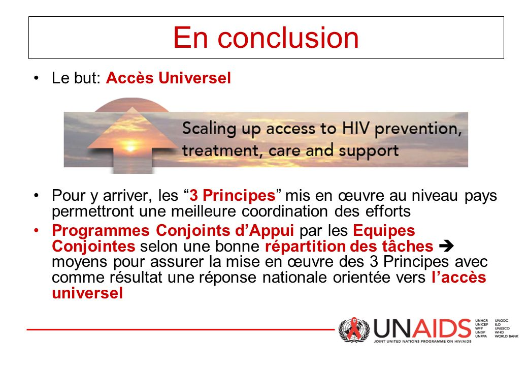 """En conclusion Le but: Accès Universel Pour y arriver, les """"3 Principes"""" mis en œuvre au niveau pays permettront une meilleure coordination des efforts"""