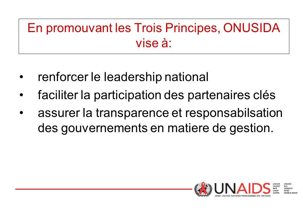 En promouvant les Trois Principes, ONUSIDA vise à: renforcer le leadership national faciliter la participation des partenaires clés assurer la transparence et responsabilsation des gouvernements en matiere de gestion.