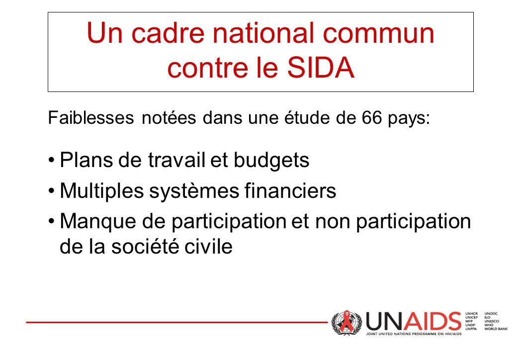 Un cadre national commun contre le SIDA Faiblesses notées dans une étude de 66 pays: Plans de travail et budgets Multiples systèmes financiers Manque de participation et non participation de la société civile