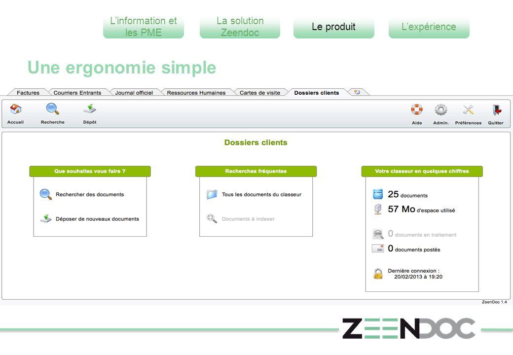 L'information et les PME L'expérienceLe produit La solution Zeendoc Une ergonomie simple