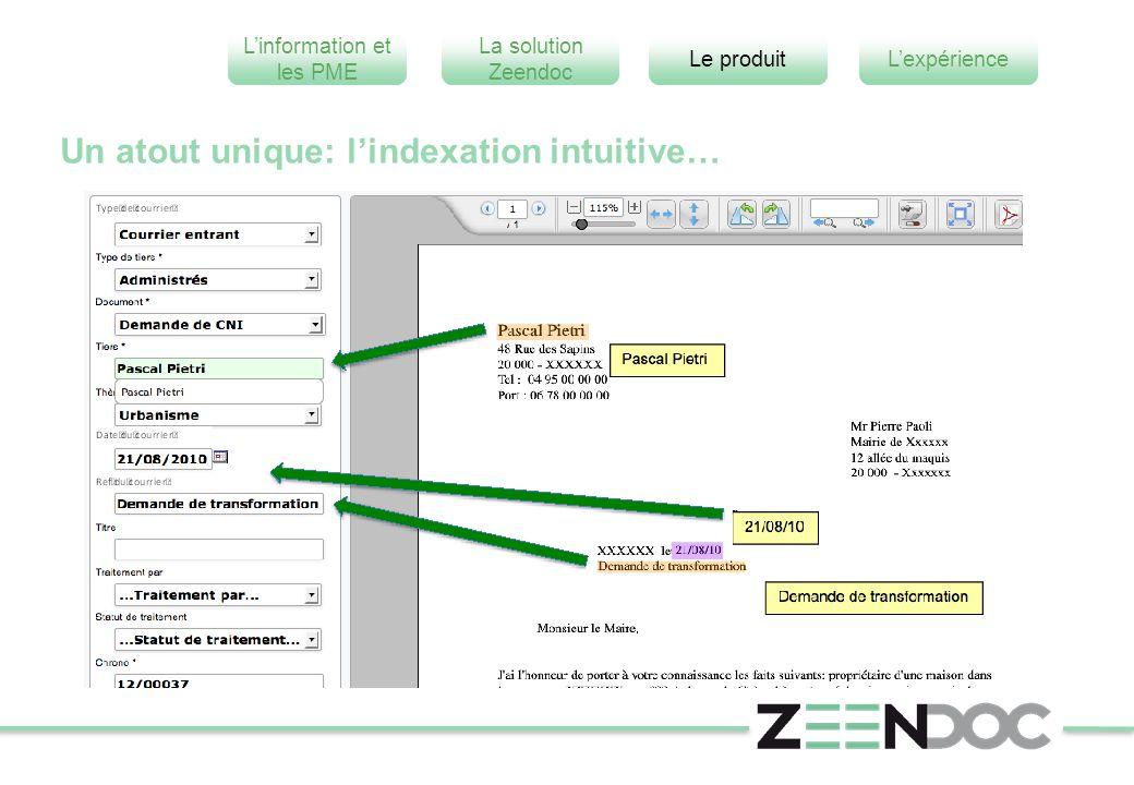 L'information et les PME L'expérienceLe produit La solution Zeendoc Un atout unique: l'indexation intuitive…