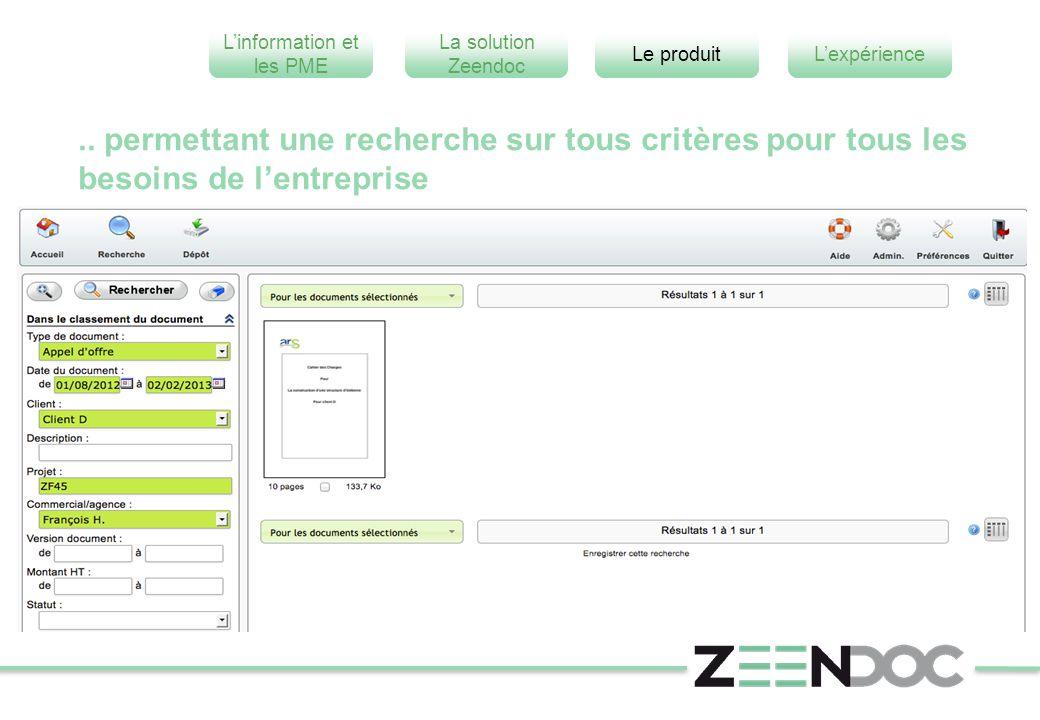 L'information et les PME L'expérienceLe produit La solution Zeendoc.. permettant une recherche sur tous critères pour tous les besoins de l'entreprise