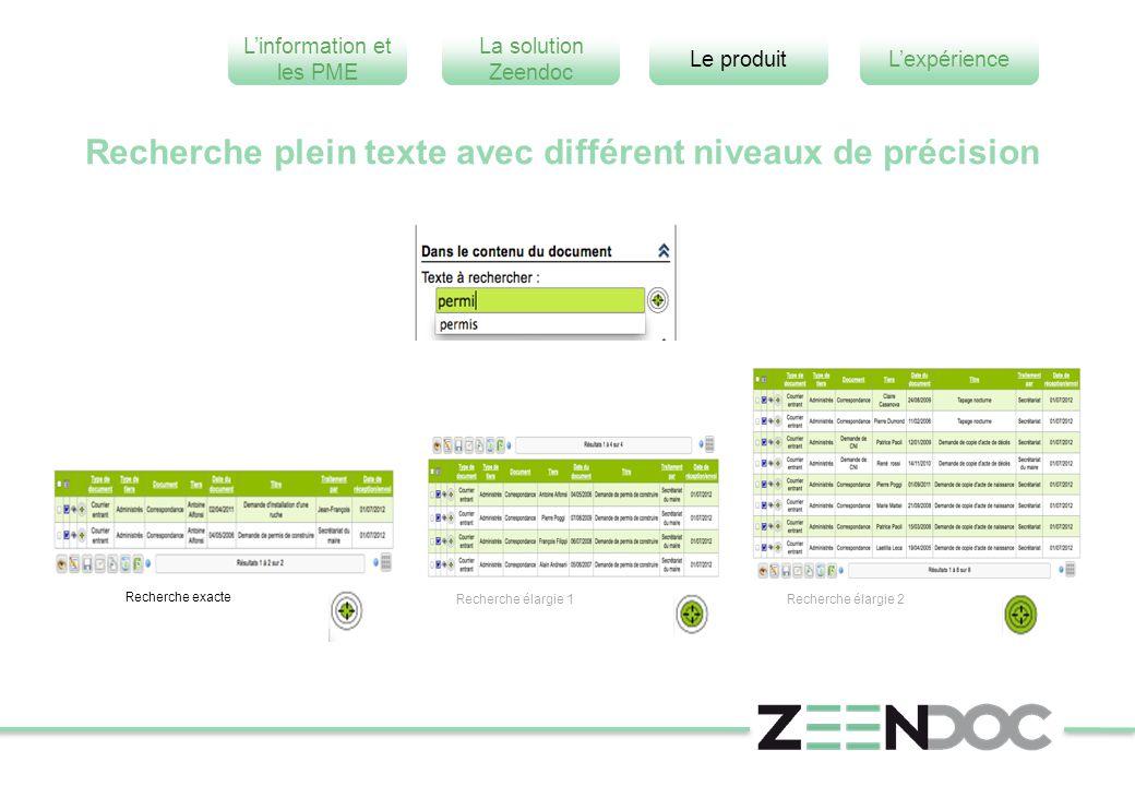 L'information et les PME L'expérienceLe produit La solution Zeendoc Recherche plein texte avec différent niveaux de précision Recherche exacte Recherche élargie 1Recherche élargie 2