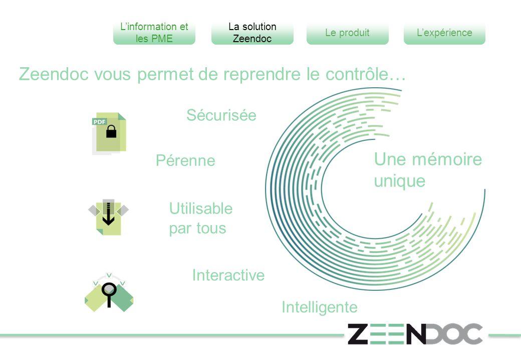 L'information et les PME L'expérienceLe produit La solution Zeendoc Zeendoc vous permet de reprendre le contrôle… Utilisable par tous Pérenne Intellig