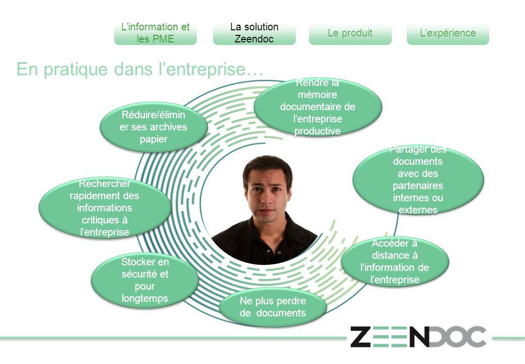 L'information et les PME L'expérienceLe produit La solution Zeendoc Réduire/élimin er ses archives papier Partager des documents avec des partenaires