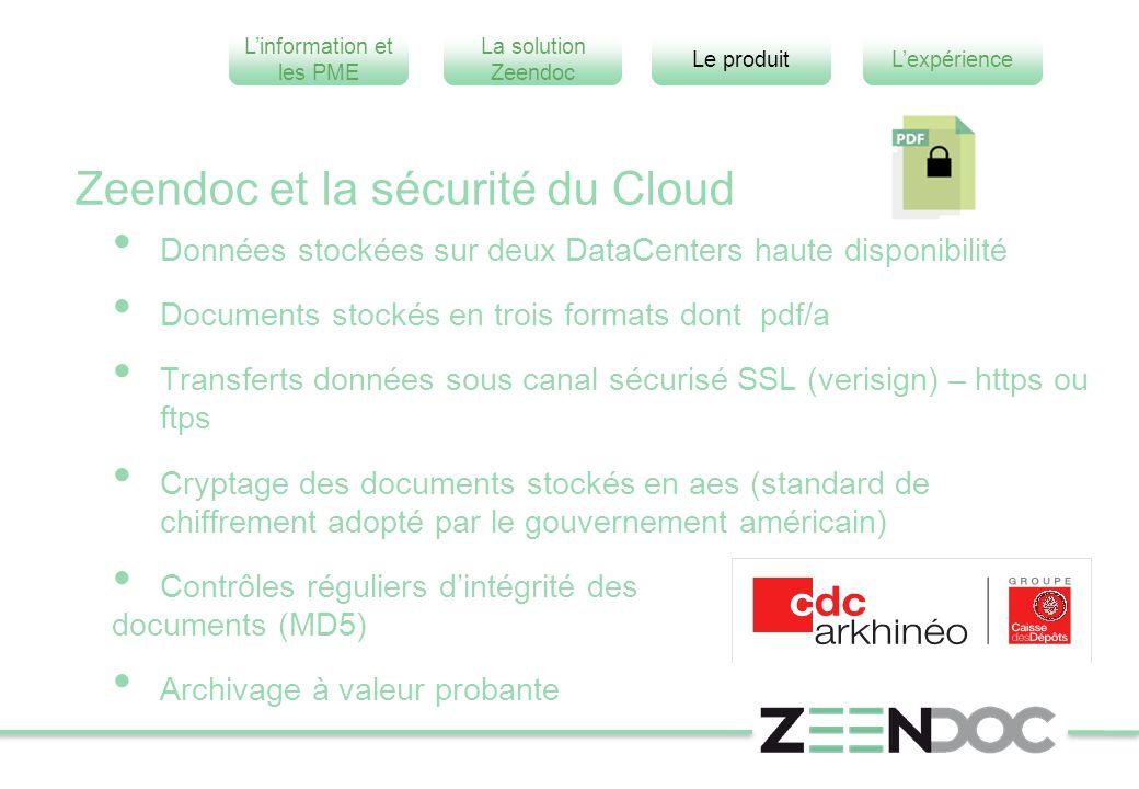 L'information et les PME L'expérienceLe produit La solution Zeendoc Zeendoc et la sécurité du Cloud Données stockées sur deux DataCenters haute dispon