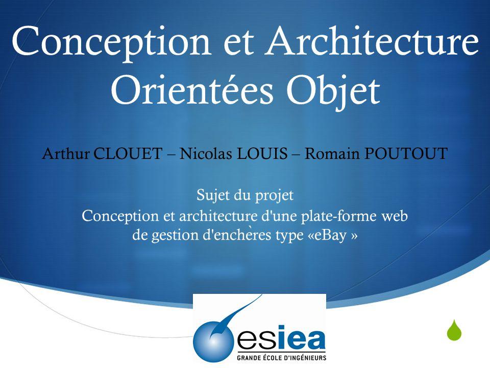  Conception et Architecture Orientées Objet Sujet du projet Conception et architecture d'une plate-forme web de gestion d'enche ̀ res type «eBay » Ar
