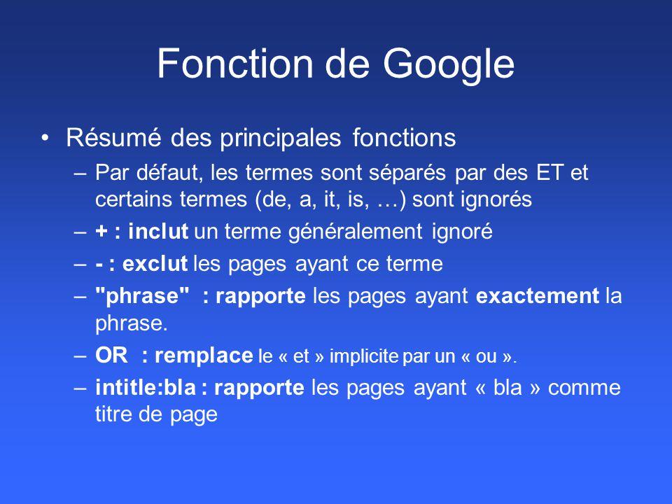 Fonction de Google Résumé des principales fonctions –Par défaut, les termes sont séparés par des ET et certains termes (de, a, it, is, …) sont ignorés