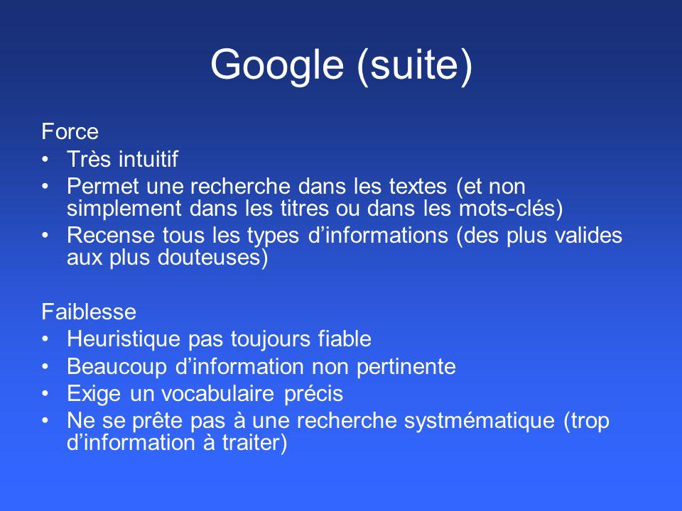 Google (suite) Force Très intuitif Permet une recherche dans les textes (et non simplement dans les titres ou dans les mots-clés) Recense tous les typ