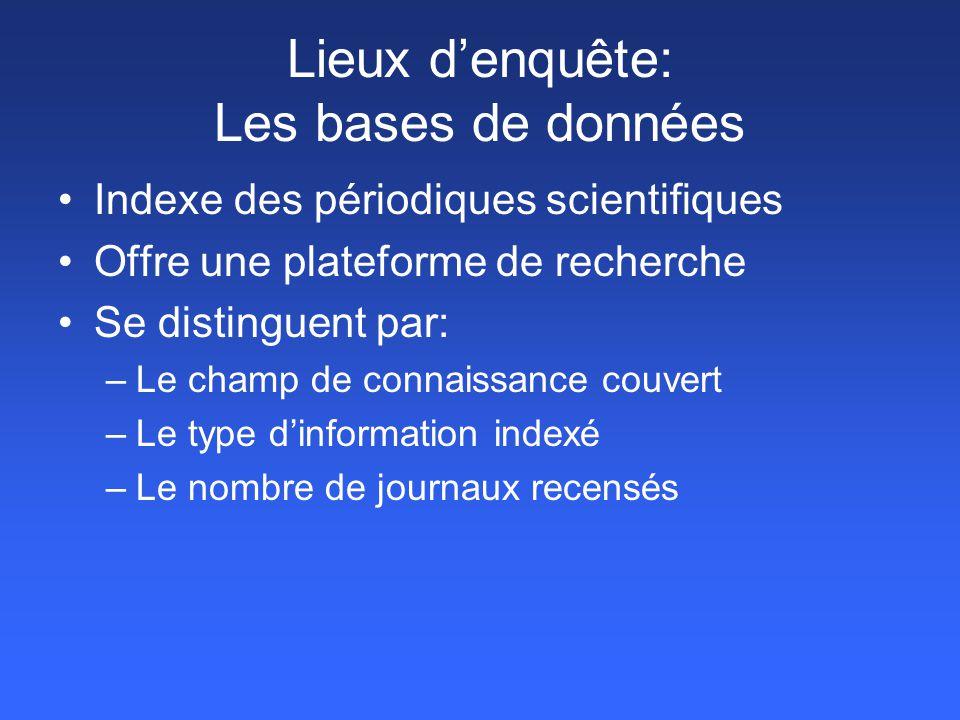 Article_1 Mot-Clé_1 Mot-Clé_2 Mot-Clé_3 Plateforme de recherche Mot-Clé_1 Article_3 Mot-Clé_1 dans abstract Article_2 Mot-Clé_1 dans le titre Lieux d'enquête: Les bases de données (suite)