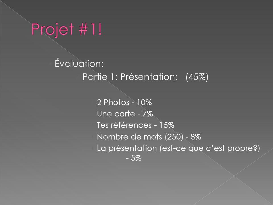 Évaluation: Partie 1: Présentation: (45%) 2 Photos - 10% Une carte - 7% Tes références - 15% Nombre de mots (250) - 8% La présentation (est-ce que c'est propre ) - 5%
