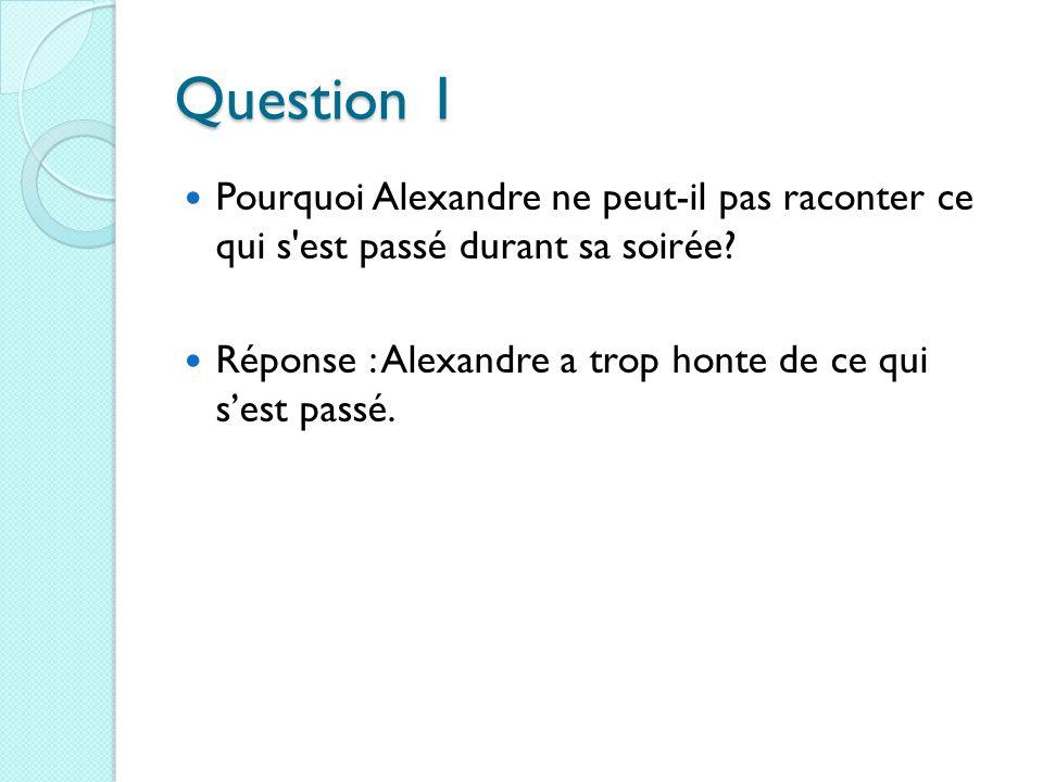 Question 1 Pourquoi Alexandre ne peut-il pas raconter ce qui s est passé durant sa soirée.