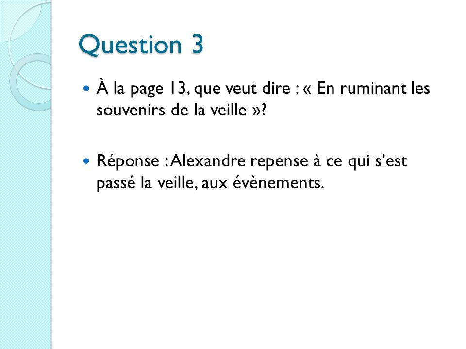 Question 3 À la page 13, que veut dire : « En ruminant les souvenirs de la veille ».