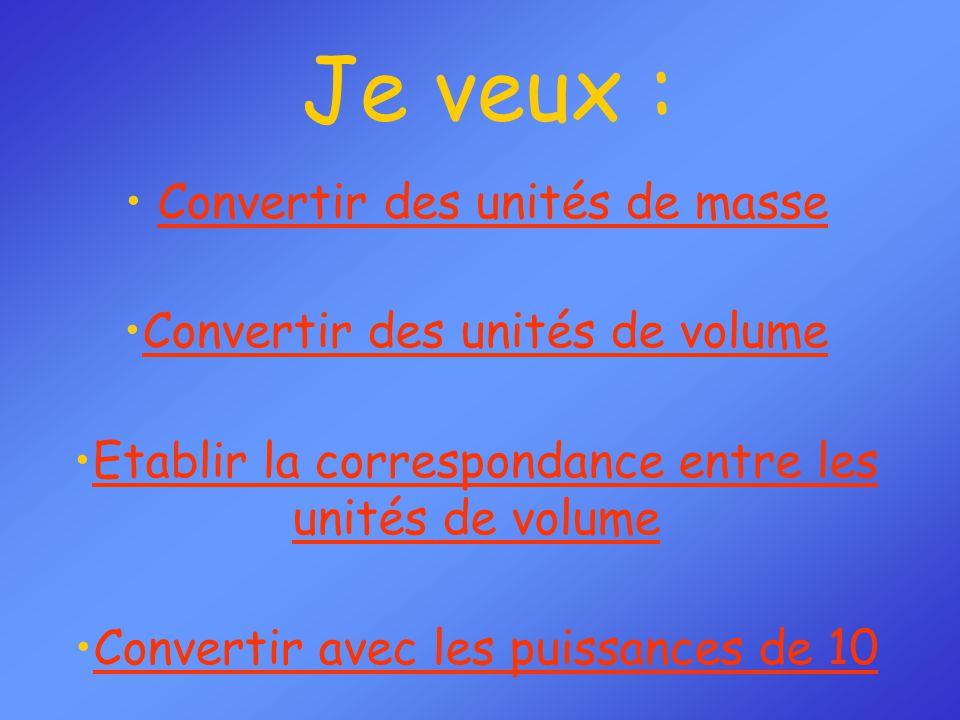 Je veux : Convertir des unités de masse Convertir des unités de volume Etablir la correspondance entre les unités de volumeEtablir la correspondance e