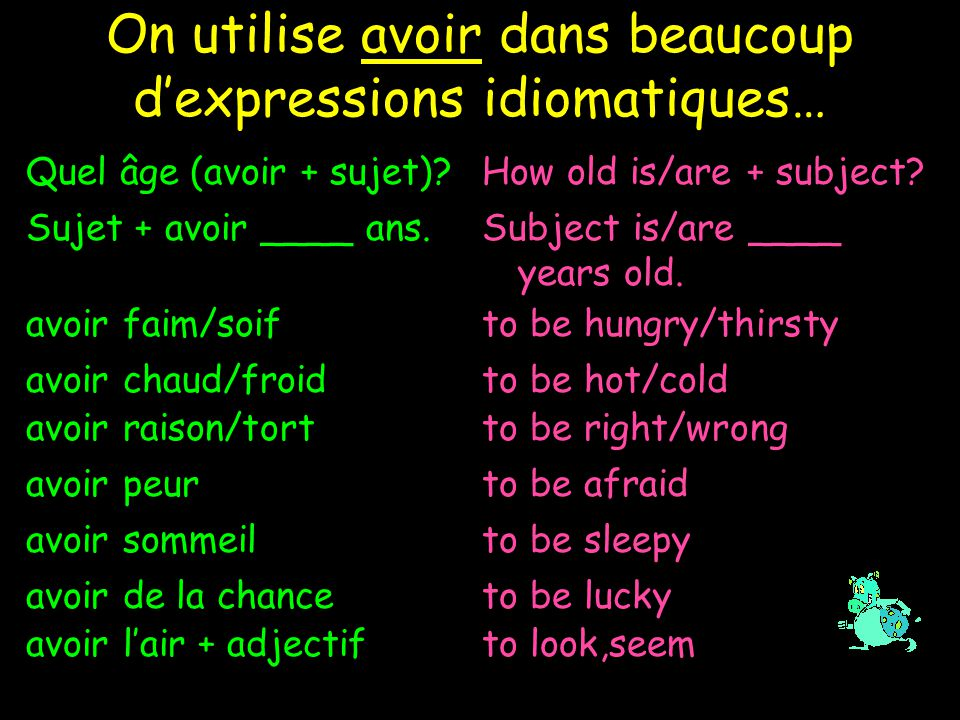 On utilise avoir dans beaucoup d'expressions idiomatiques… Quel âge (avoir + sujet) How old is/are + subject.