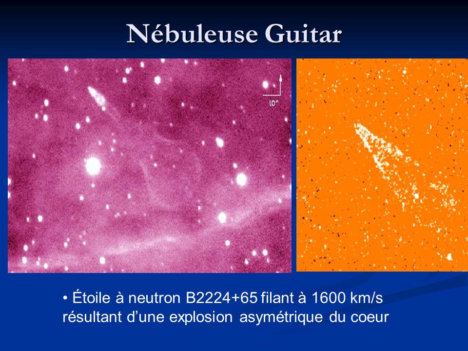 Nébuleuse Guitar Étoile à neutron B2224+65 filant à 1600 km/s résultant d'une explosion asymétrique du coeur