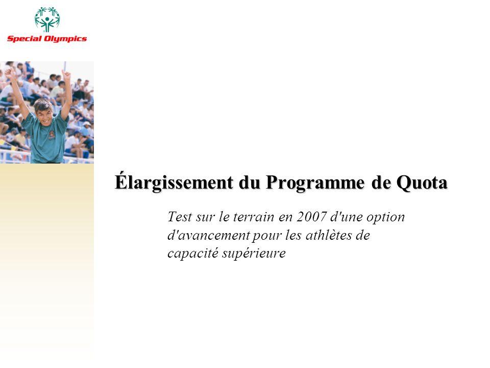Élargissement du Programme de Quota Test sur le terrain en 2007 d'une option d'avancement pour les athlètes de capacité supérieure